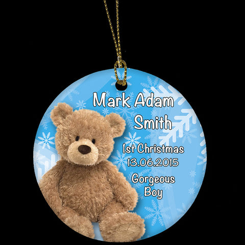Baby 1st Christmas ornament, boy's teddy ornament