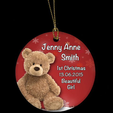 Personalised Christmas Ornament, Baby Girl's First Christmas Tree Ornament, Teddy Bear Design
