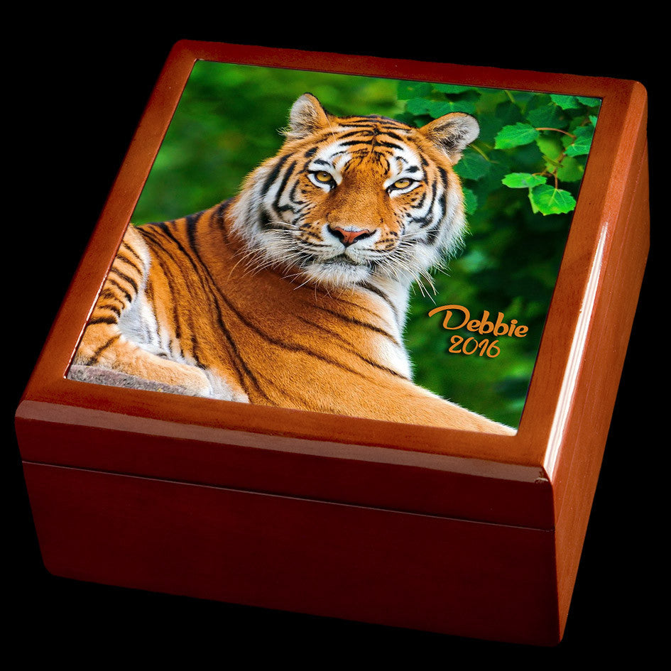 personalised tiger jewellery box
