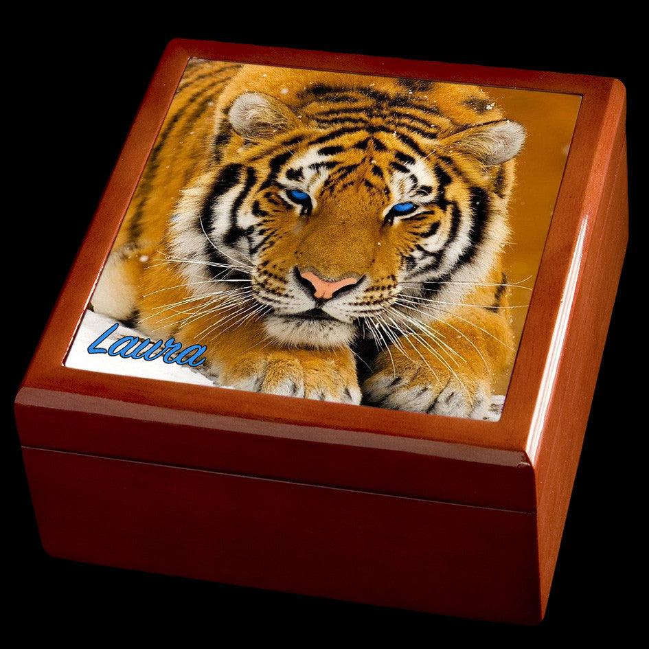 Tiger personalised jewellery box