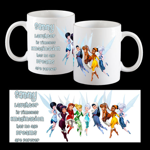 Personalised kids melamine Mug with Tinkerbell and fairy friends with Tinkerbell Quote