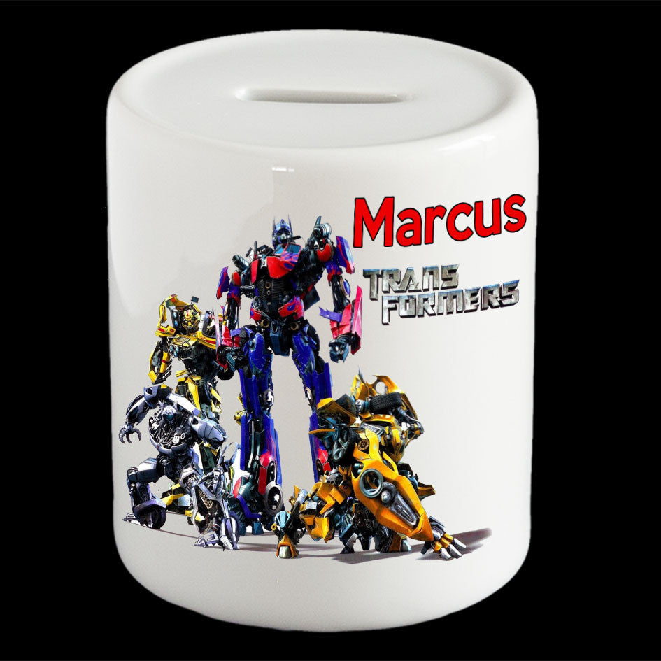 Personalised Transformers Autobot money box, Optimus Prime, Bumble Bee piggy bank