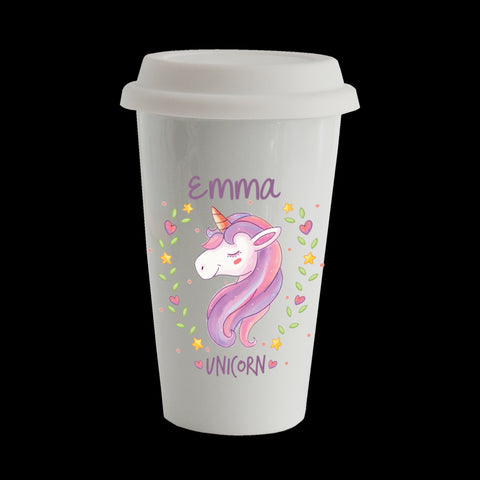 Personalised Unicorn Eco Travel Mug, Ceramic double walled insulated mug, Unicorn Mug