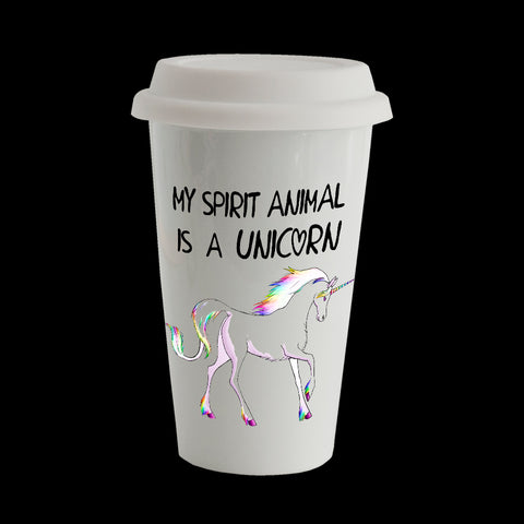 Unicorn Eco Travel Mug, Ceramic double walled insulated mug, My Spirit Animal is a Unicorn Mug