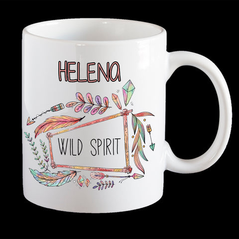 Personalised Boho Wild Spirit Coffee Mug, Cool boho wild spirit mug