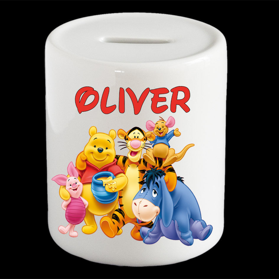 Personalised Winnie the Pooh money box, Winnie, Tiger, Eeyore, Piglet and Roo piggy bank