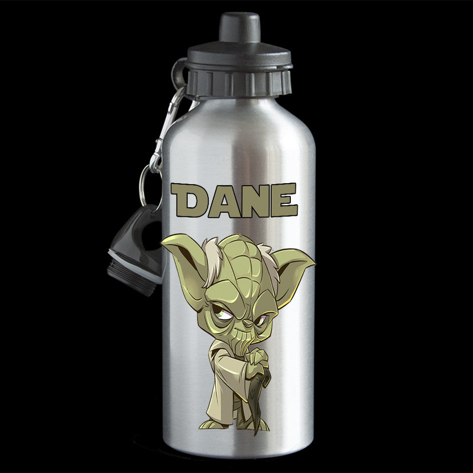 Personalised Yoda character Water Bottle, named Star Wars Yoda Aluminium drink bottle