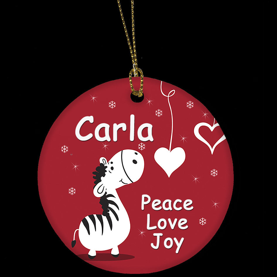 Personalised Christmas Ornament, Zebra, heart, love ornament