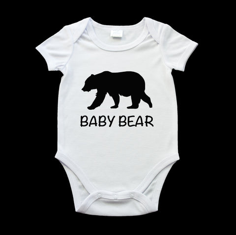 Funny baby bear onesie black bear and text