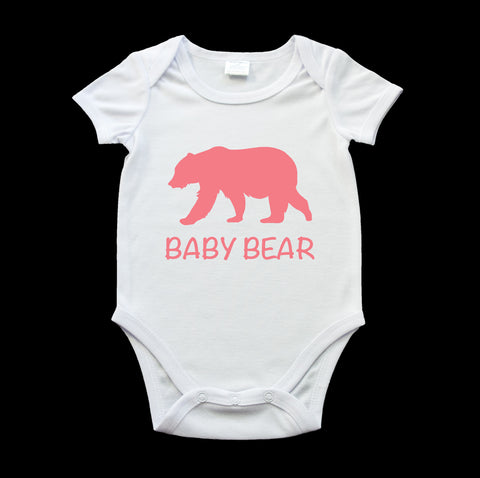 Funny baby bear onesie rosy red bear and text