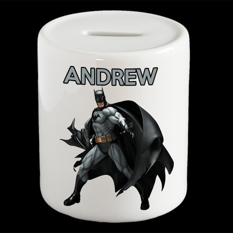 Personalised Batman money box, Black Batman piggy bank