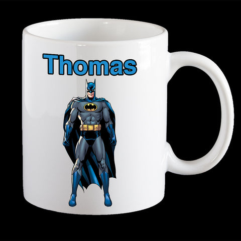 Personalised Batman Coffee Mug, Blue Batman personalised kids mug