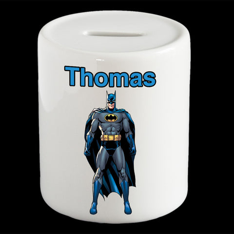 Personalised Batman money box, Blue Batman piggy bank