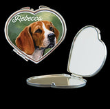Personalised Mirror Compact Beagle picture, make up mirror square, heart, round