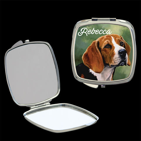 Personalised Beagle Mirror compact