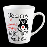 Personalised Funny Valentine's Day coffee mug, I love you beary much