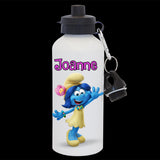 Personalised Blossom Smurfette Water Bottle, Smurf Blosson drink bottle, white or silver bottle