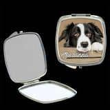 Personalised Mirror Compact Border Collie picture, make up mirror square, heart, round