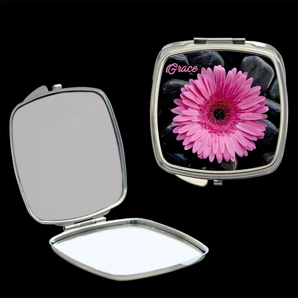Personalised Mirror Compact bright pink gerbera, make up mirror square, heart, round