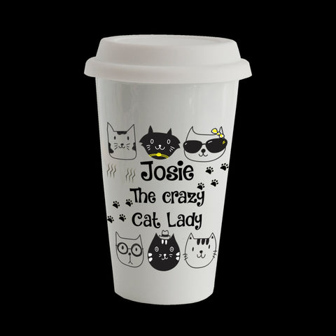 Personalised Crazy Cat Lady Eco Travel Mug, Ceramic double walled insulated mug, Cat Mug