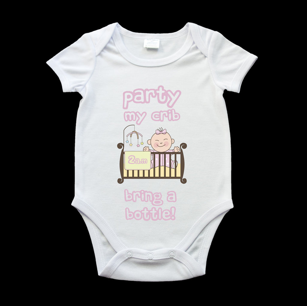 Funny girls baby onesie, Funny Party at my crib 2am bring a bottle romper suit