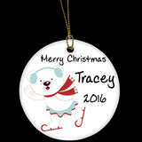 Personalised Christmas Ornament, Cute skating bear Ceramic Christmas Tree Ornament