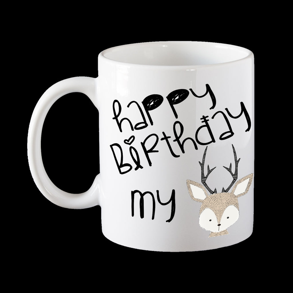 Happy Birthday My Dear Personalised Coffee Mug, Deer Funny Mug