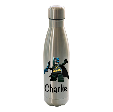 Batman Lego Personalised Stainless Steel Double wall Thermos Drink travel Water Bottle 500ml