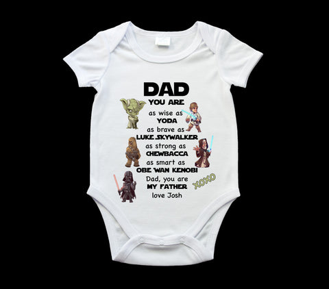Father's Day Star Wars Dad baby onsie, personalised romper suit, Baby one piece, Star Wars