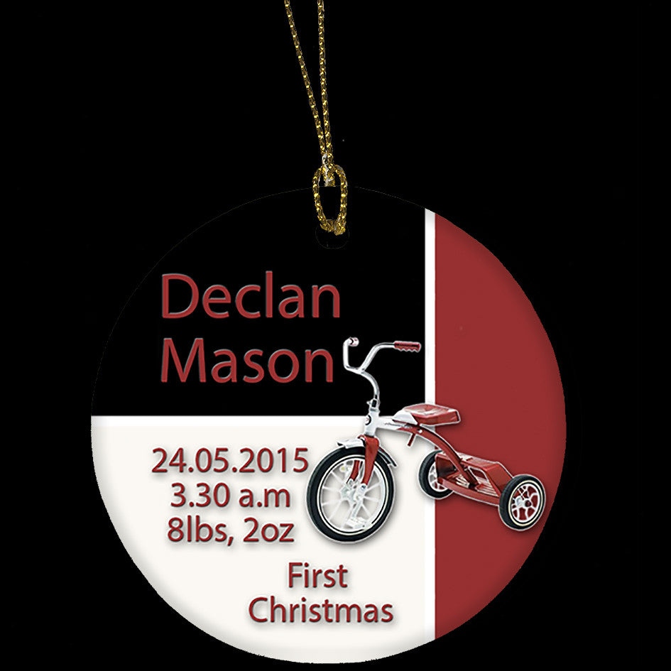 Personalised Christmas Ornament, Baby's First Christmas Tree Ornament, Tricycle Design