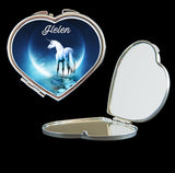Personalised Mirror Compact with Unicorn, make up mirror