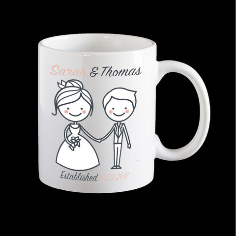 Wedding Personalised Mugs for the lucky couple, wedding gift