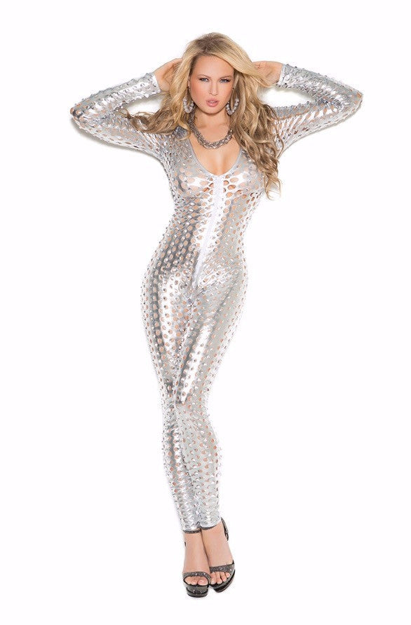 0734a9c7a777d Sexy Exotic Metallic Silver perforated Catsuit – Laleek's Lingerie