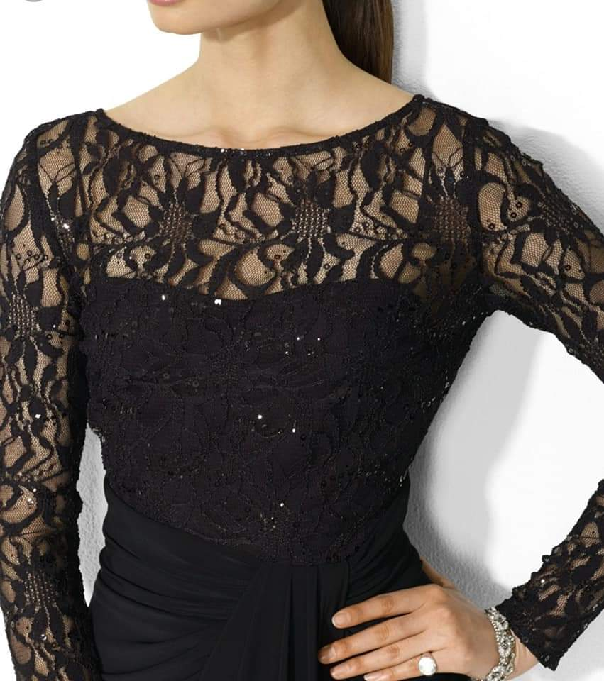 Lauren Women's Sequined Lace Jersey Dress size 12