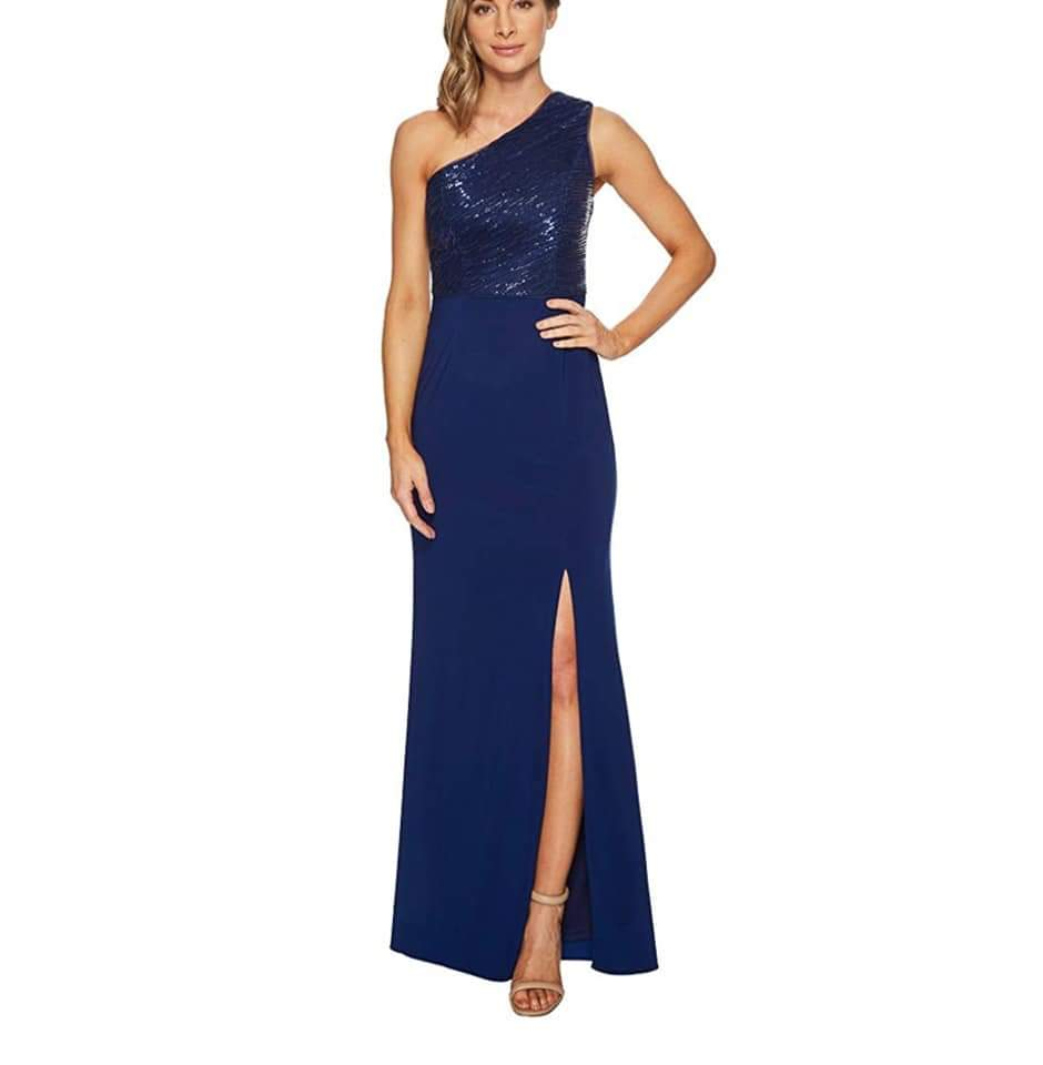 NWT Adrianna Papell One Shoulder Sequin Bodice Gown
