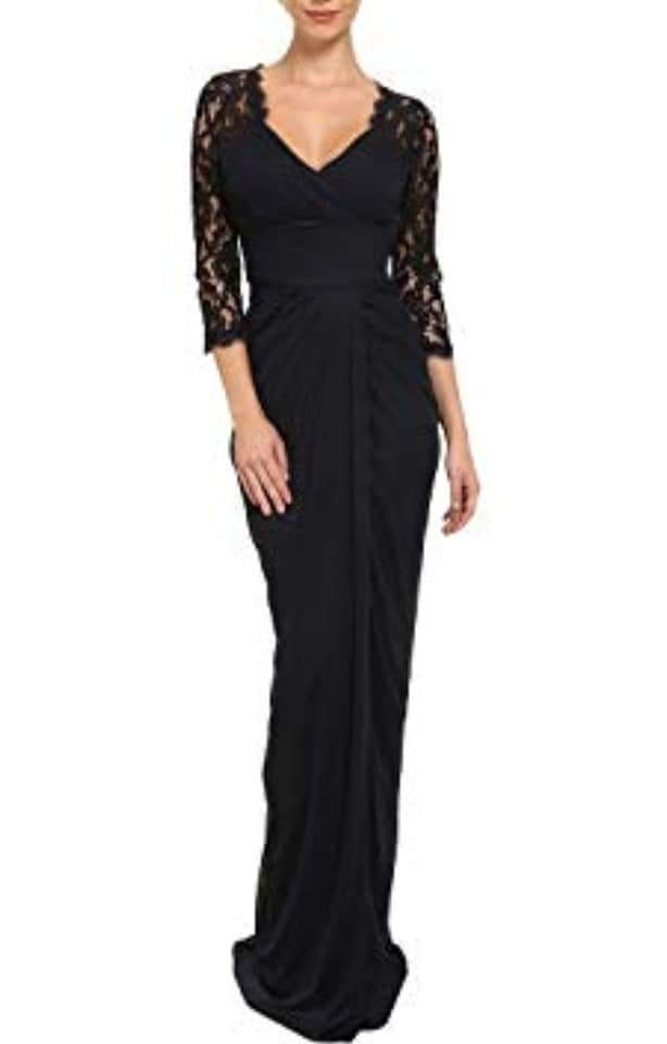 NWT Adrianna Papell Long  Lace Sleeve  Pleated Gown