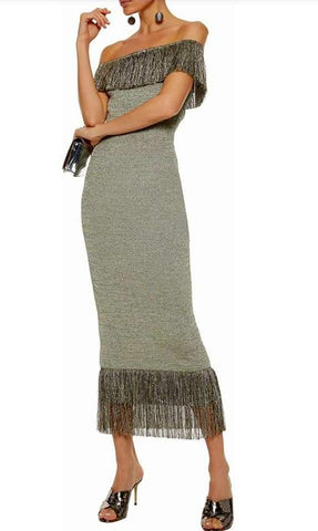 Karl Lagerfeld Paris Woven Fringe Sheath dress