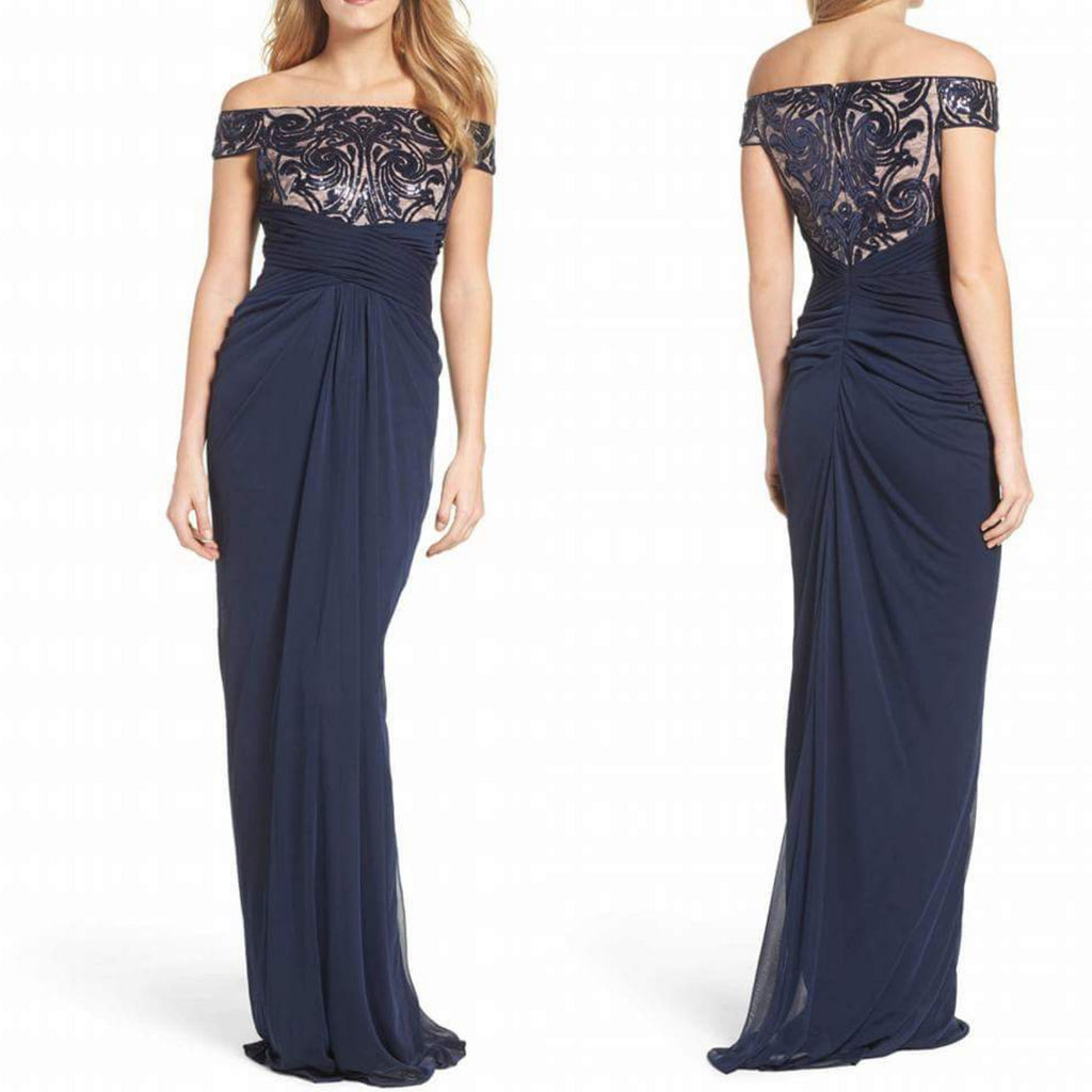 Cachet New York Crisscrossing Front Navy Gown