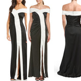NWT ($695) KAY UNGER Black and White Off Shoulder Formal Long Gown