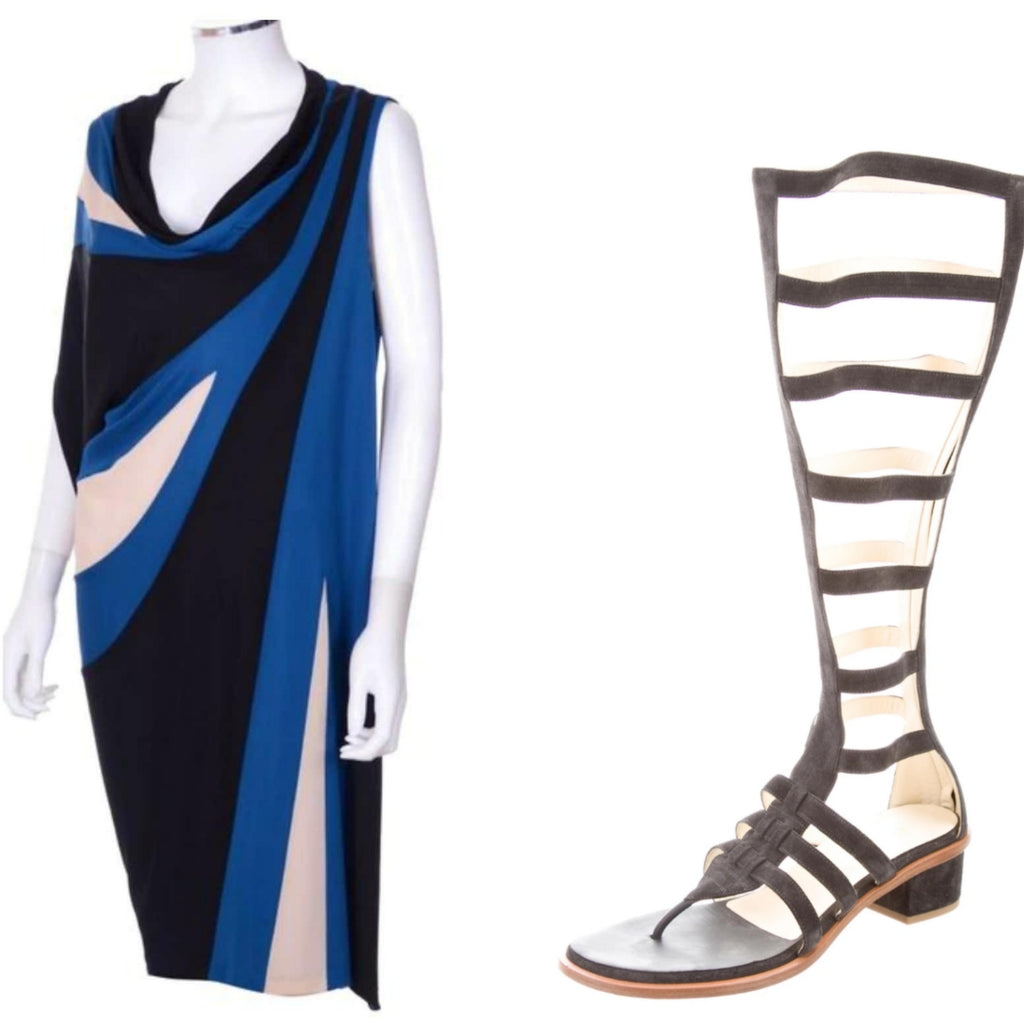 NWT $2100 Jean Paul Gaultier Geometric Colorblock Draped Dress