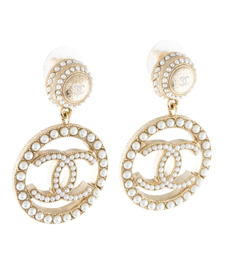 Chanel CC Gold Stud Seed Pearl Hoop Dangle Earrings