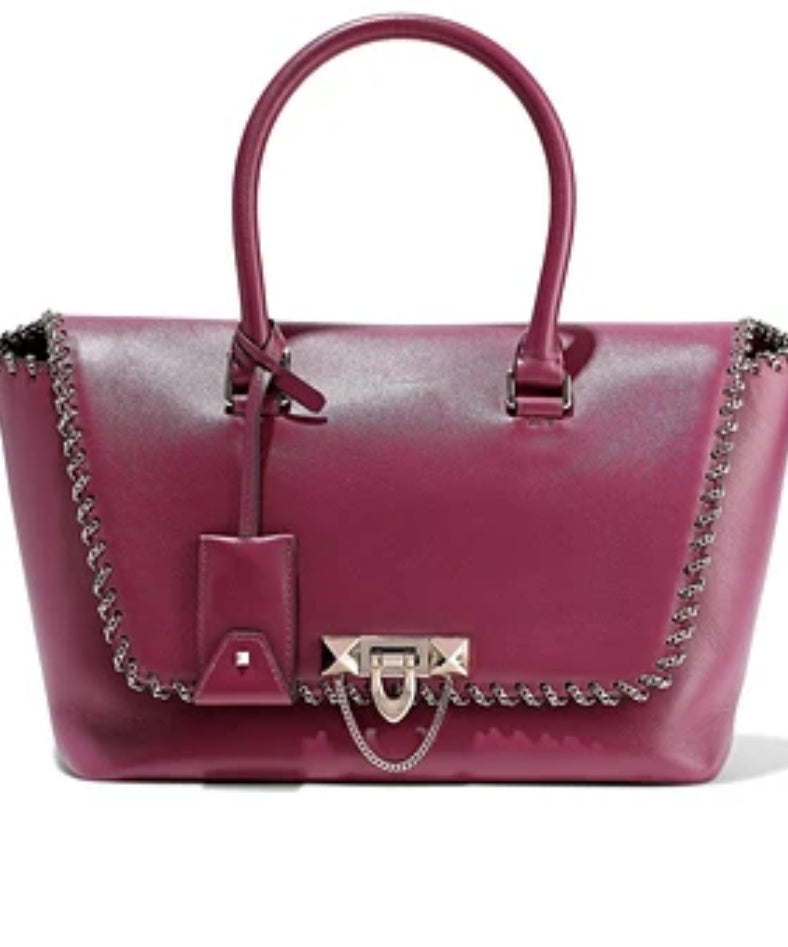 NWT VALENTINO Demilune 15  Small Chained Trimmed Leather Bag