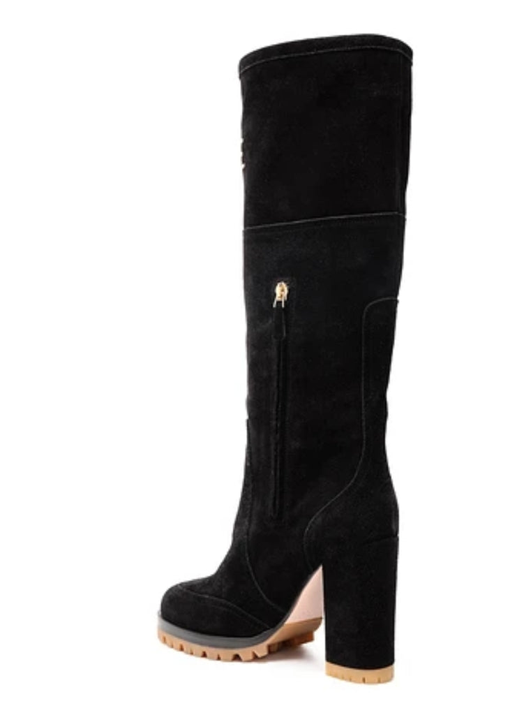 NWT RED Valentino Gold Studded Suede Boots