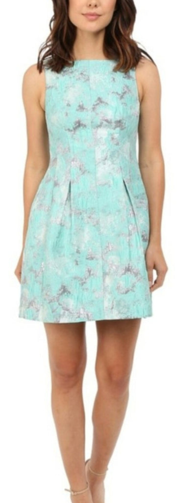 Aidan Mattox Mint and Silver Metallic Jacquard Cocktail Dress