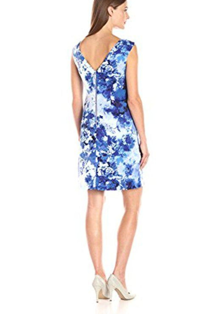 Adrianna Papell Blue Printed Faille Simple Cocktail Dress