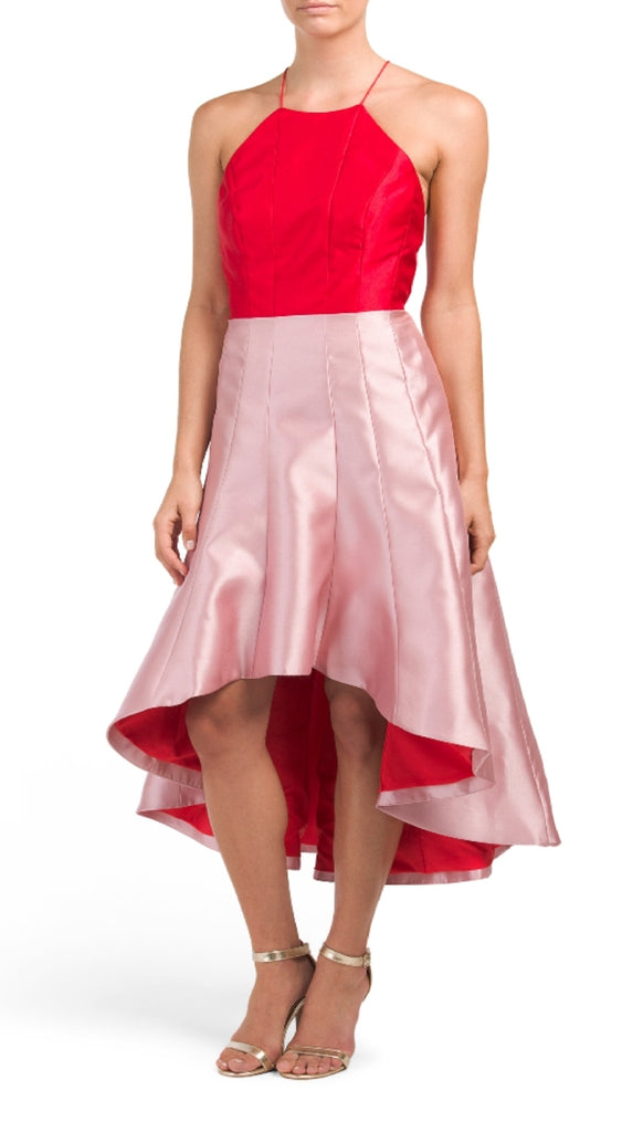 NWT $450  Phoebe Couture by Kay Unger Halter Colorblock Hi and Lo Dress