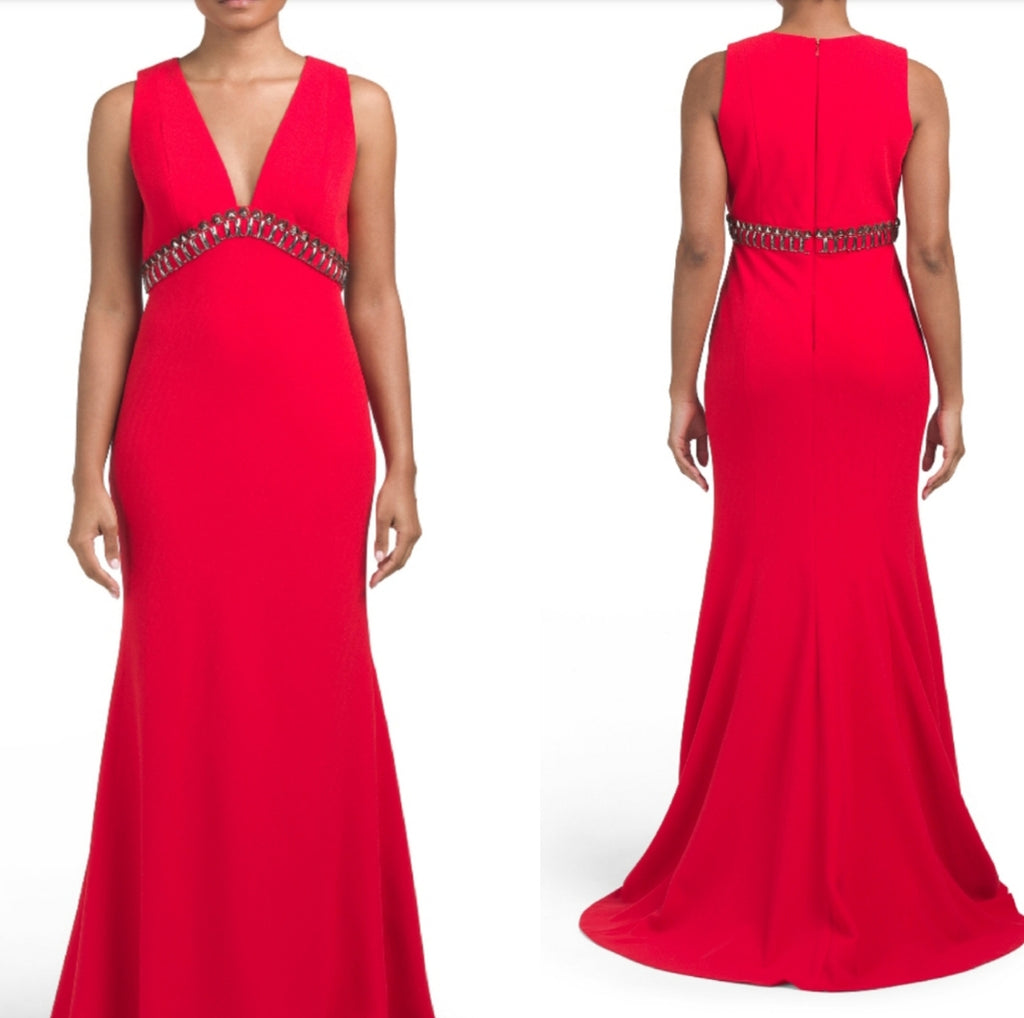 NWT $895 Carmen Marc Valvo Red Embellished V neck Gown