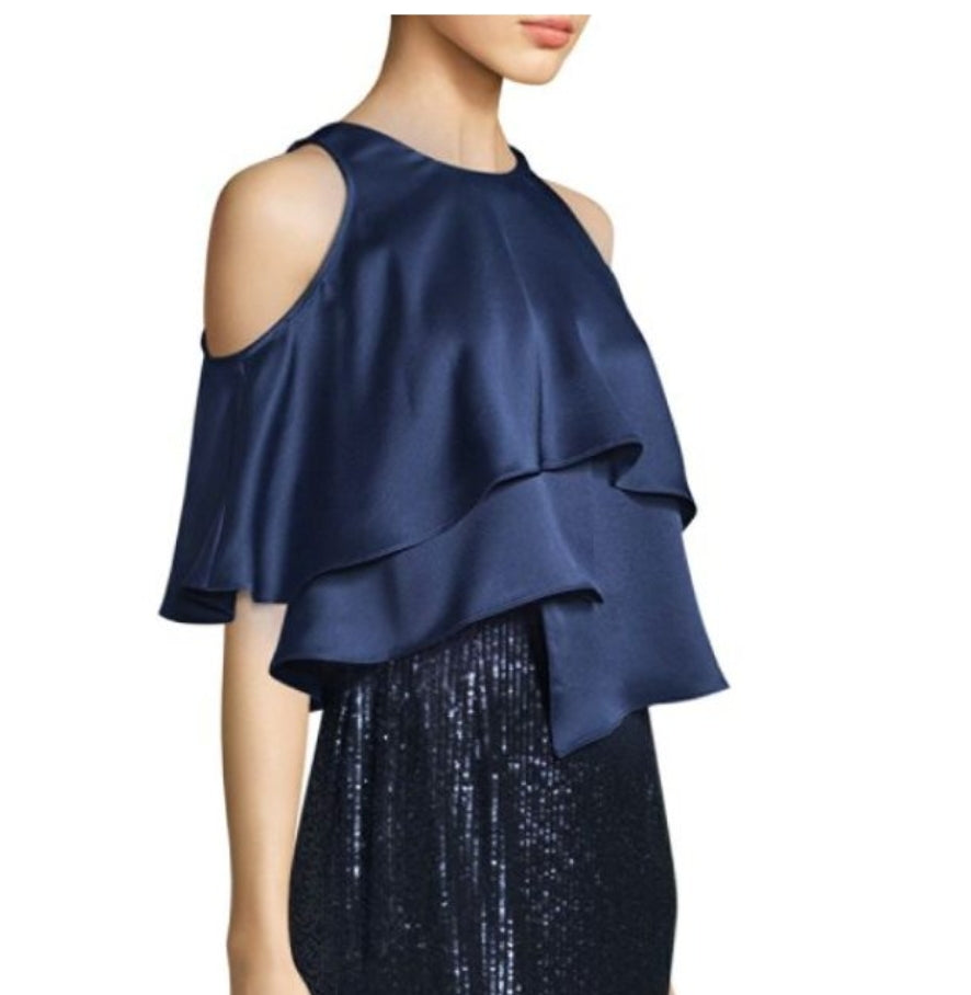 NWT $350 Aidan Mattox Sequin Gown With Satin Popover