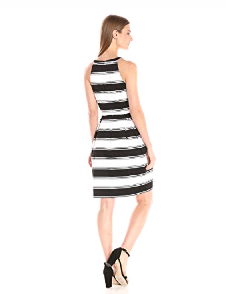 NWT $108 Adrianna Papell Black & White Stripe Dress SZ 6