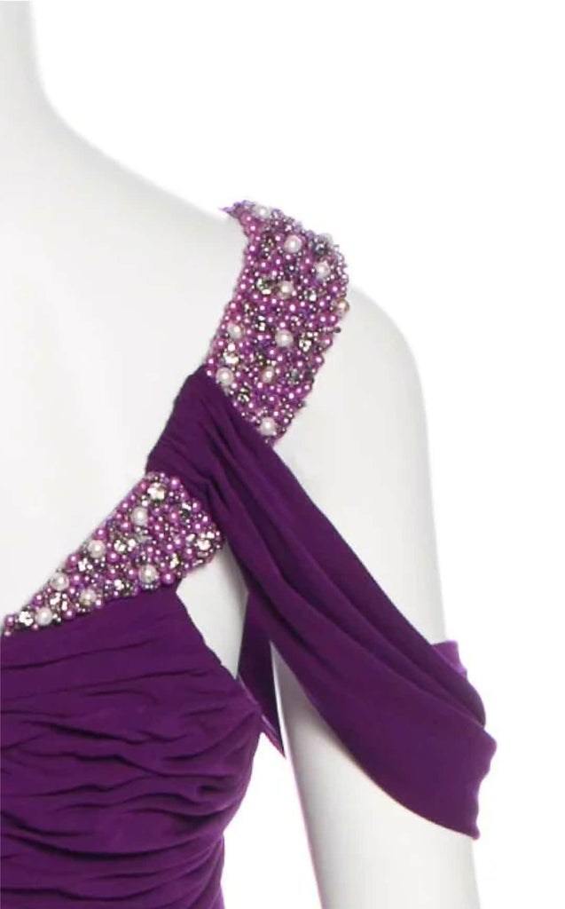 BADGLEY MISCHKA Embellished One-Shoulder Dress
